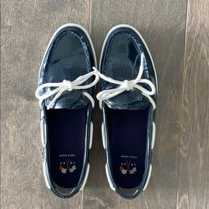 Cole Haan Navy Patent Leather Boat Shoes
